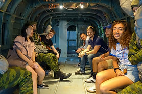 MGIMO Summer School Students in the back of a transport helicopter from a Russian airbone division at the Patriot Park facility in Kubinka