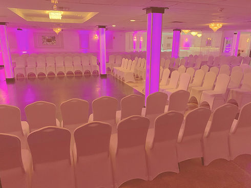 Wedding Ceremony Arrangement of 175 Chairs with White Spandex Chair Covers