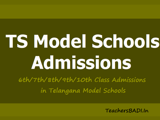 Telangana Model Schools Admissions Notification 2021-22: Class 6th to 10th