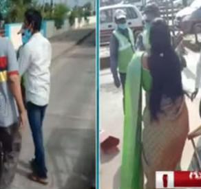 YSRCP woman leader slaps Kaza Toll Plaza staff in Guntur