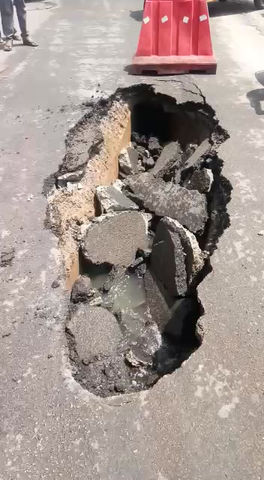 Watch: Road caves at Jubilee Hills Road No.10, Hyd, today