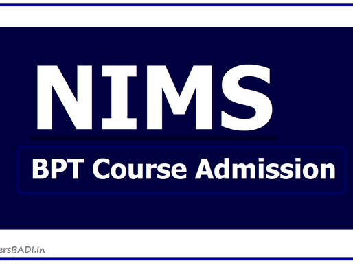 NIMS-Hyd BPT Admissions 2021: 50 seats: Latest Update