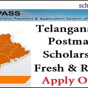 TS Govt post-matric scholarships 2021-22: Fresh/ Renewal: SC, ST, BC, EBC, Minority: TS e-Pass