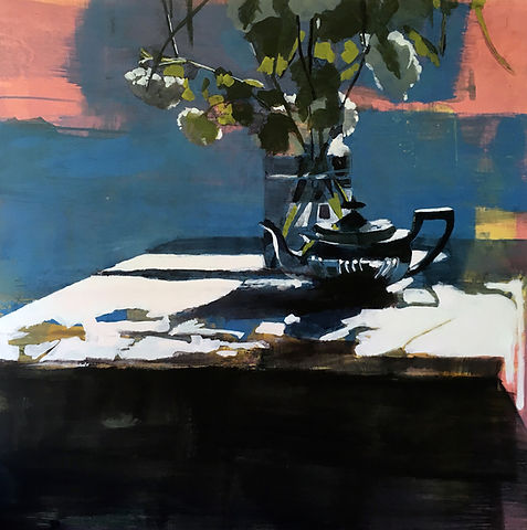 Silver Teapot on Pink and Cerulean  90x90cm.jpg