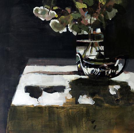 Silver Teapot and White Viburnum  60x60c