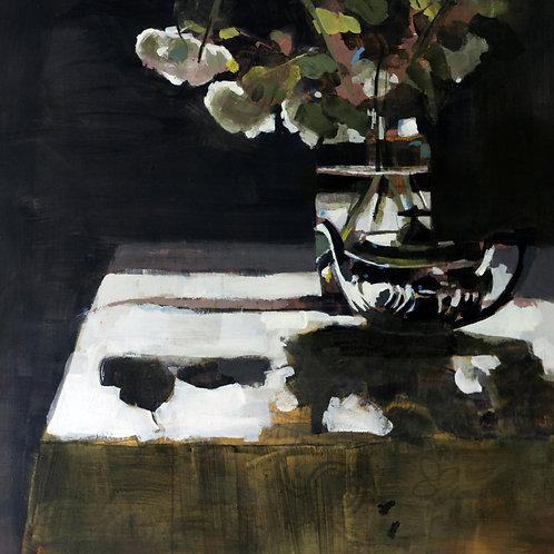 Silver Teapotwith White Verbena