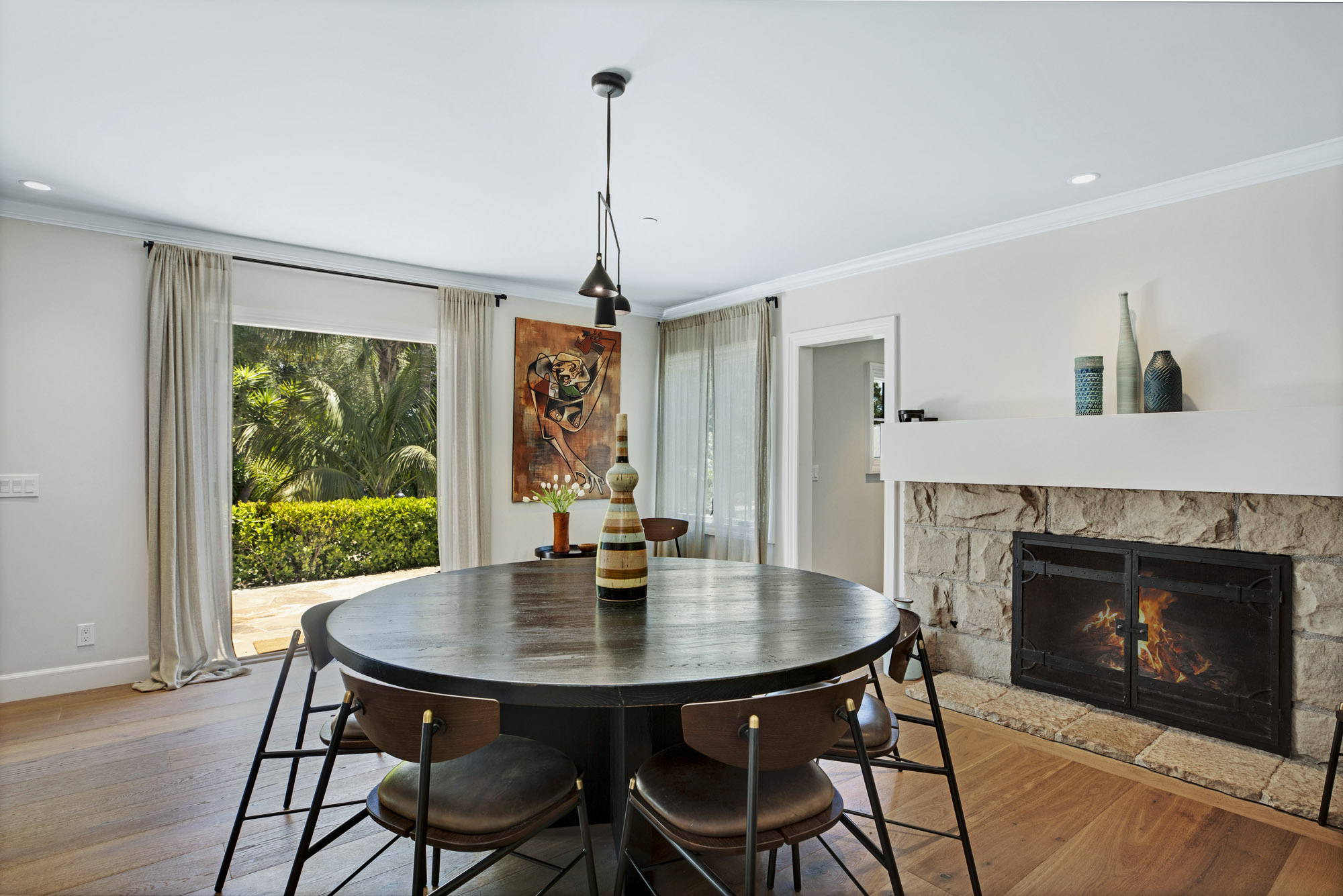 Formal Dining Fireplace to Terrace