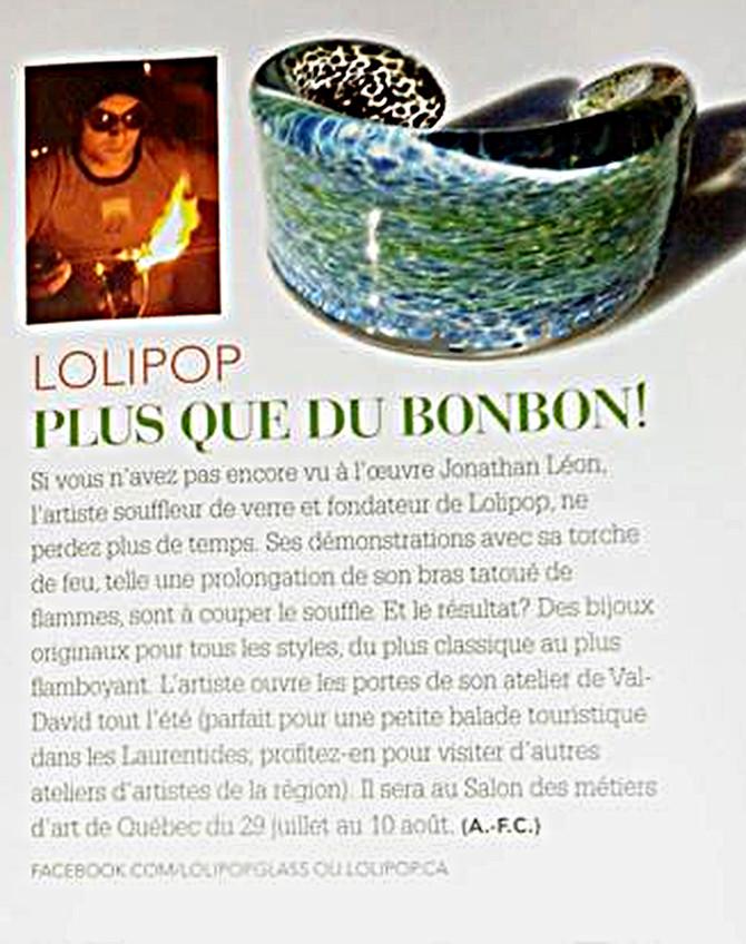 Lettre de remerciement dans le Moi & Cie pour Lolipop verr soufflé www.lolipop.ca