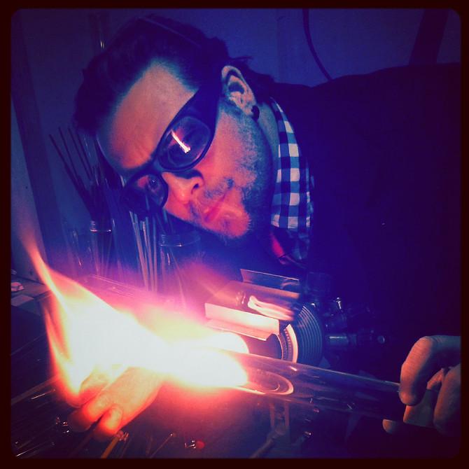 Salon des Métiers d'art de Montréal - Lolipop verre soufflé en démonstration et pour achat de pi