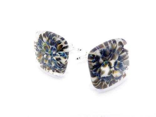SW18 glass cufflinks / boutons de manchettes