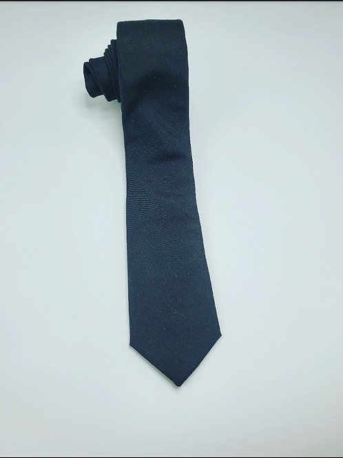 Slim Solid Black Traditional Tie