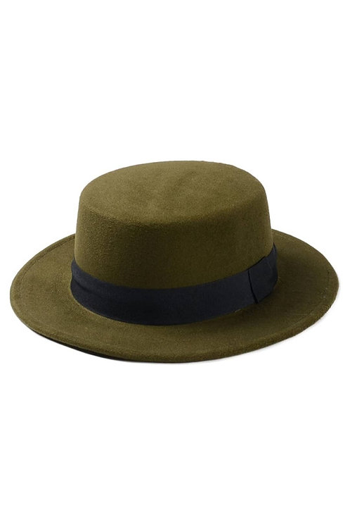 Army Green Wide Brim Boater Hat