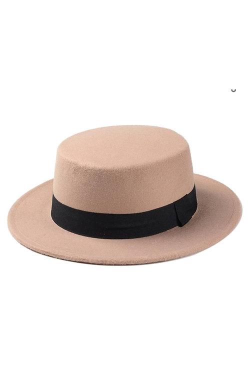 Camel Wide Brim Boater Hat
