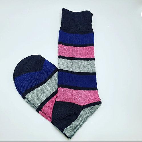 Pink, Gray, Blue Stripes