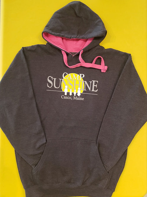 Color Block Hooded Sweatshirt - Charcoal/Pink