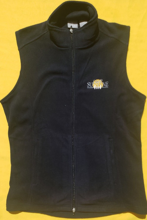 Women's Full Zip Fleece Vest - Black