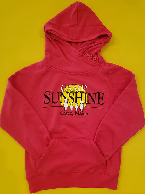 Youth Button Hooded Sweatshirt - Rose Heather