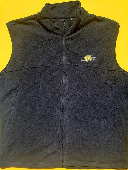 Men's Full Zip Fleece Vest - Black