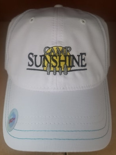 White/Teal Blue Hat with Patterned Brim