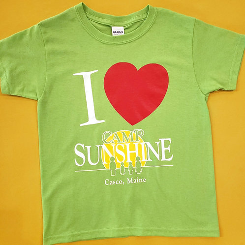 I Love Camp Youth T-Shirt - Lime Green
