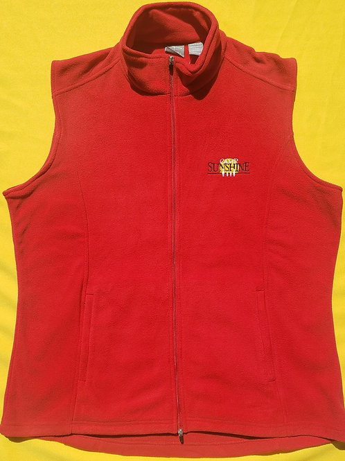 Women's Full Zip Fleece Vest - Red