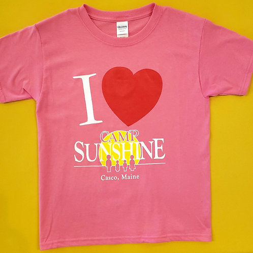I Love Camp Youth T-Shirt - Pink