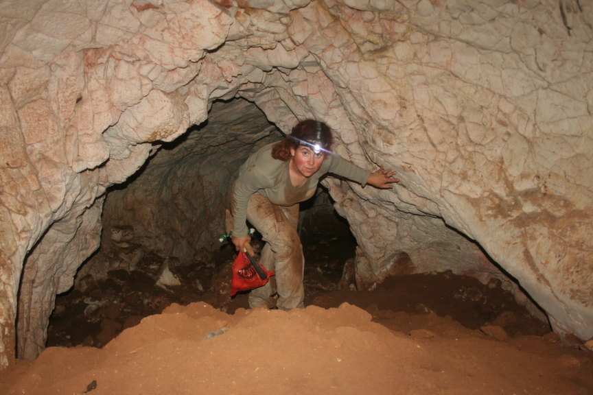 מסדרון במערת ערק נעסנה - תקרה מעוגלת וקרקעית מכוסה קרקע כהה