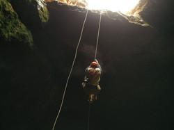 Climbing out of Atarot cave