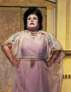 Actor Michael Walters as Domina in A Funny Thing Happened on the Way to the Forum