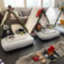 Each teepee sleepover setup feels like the first one to me!  I get so excited when I see the theme c