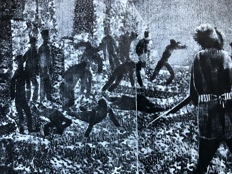 Avec son écran d'épingles, à l'aide de stylets et roulettes variés, Alexandre Alexéïeff (1901-1982) sculptait de merveilleux film d'animation (Une nuit sur le Mont Chauve, d'après Moussorgski, le Nez d'après Gogol, etc.). Ayant lu le Docteur Jivago, il fut profondément ému, comme s'il avait reçu « une lettre de 700 pages de son frère mort en Sibérie ». Ainsi demandait-il à Pasternak l'autorisation d'illustrer son roman. L'écran d'épingles créait des images éphémères, qu'Alexéïeff photographiait, puis détruisait en passant à l'image suivante. Une sorte de lampe magique accompagne le texte. Ici on voit le coup de feu entre la milice des bois et les volontaires de Koltchak.