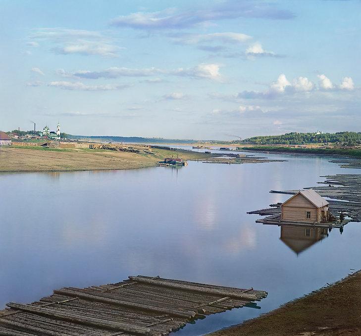 Впадение реки Костромы в Волгу 1910 год.