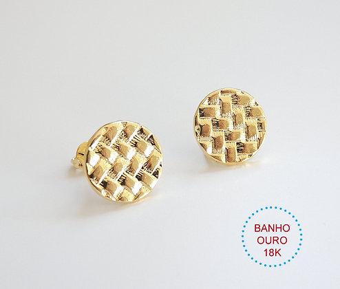 BASE DE BRINCO METAL BANHO OURO 18K MODELO MARTINE - 1 Par