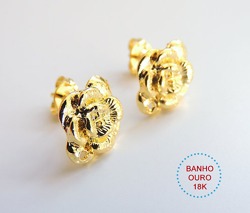 BASE DE BRINCO METAL BANHO OURO 18K MODELO CELINA - 1 Par