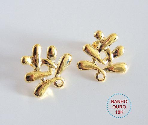 BASE BRINCO BANHO OURO 18K MODELO MARGUERITTE - 1 Par