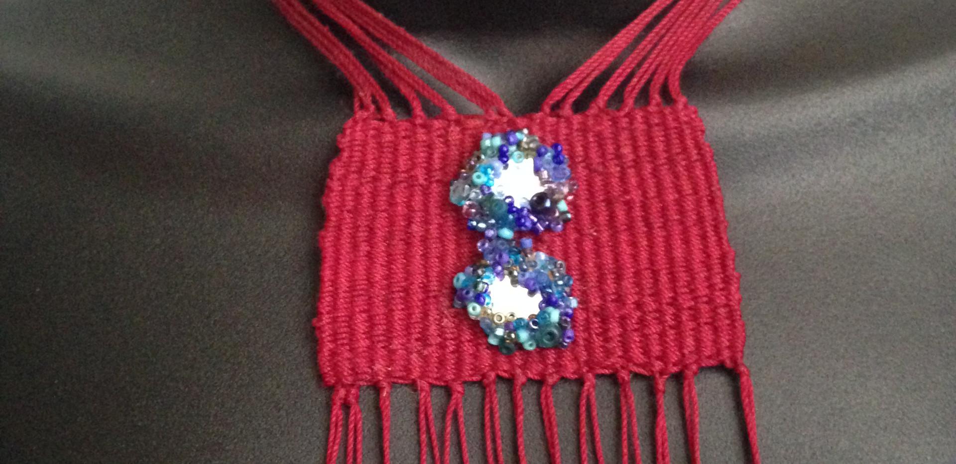Red Loom Woven Neckpiece