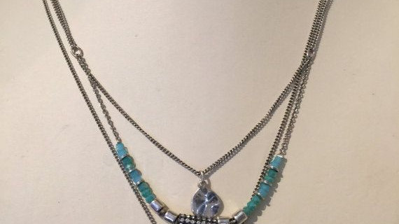 three strand necklace,blues and silver colors,, 16 ,,18,,20 inch chains