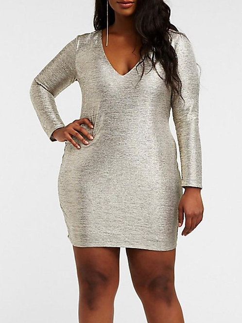 Curvy Metallic Bodycon Dress