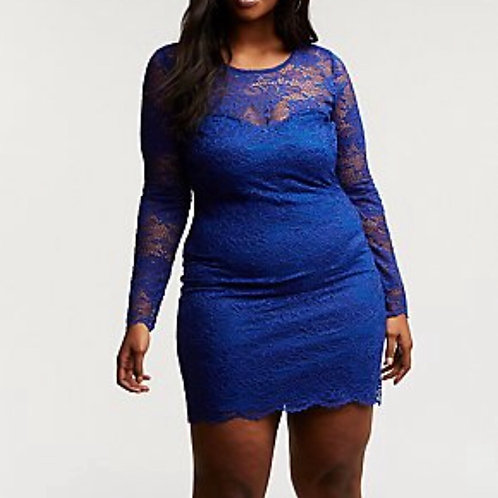 Blue Lace Bodycon Dress