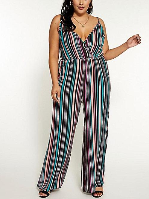 Curvy Striped Wide Leg Jumpsuit