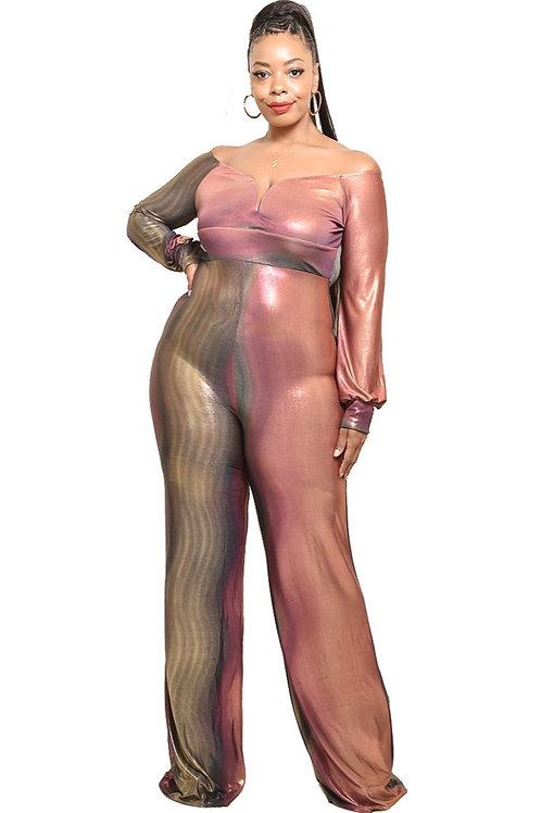 Metallic off shoulder jumpsuit
