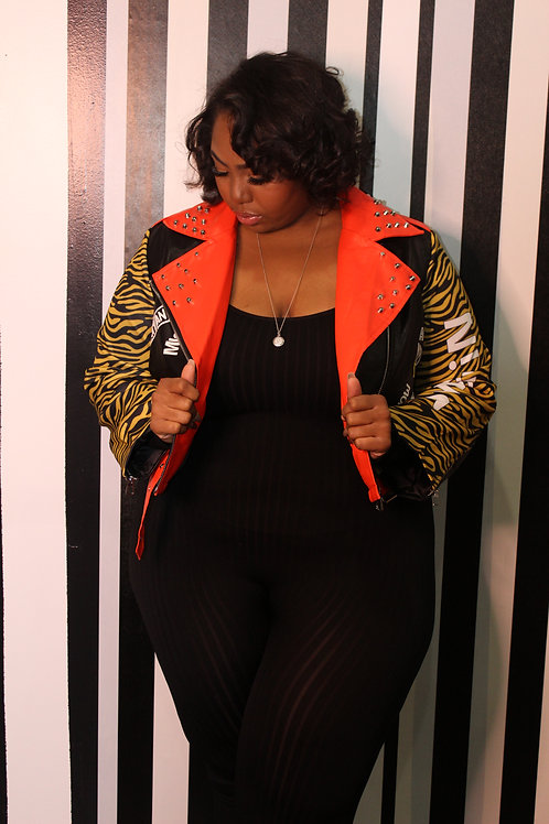 Drippin Tiger Vintage Leather Jacket