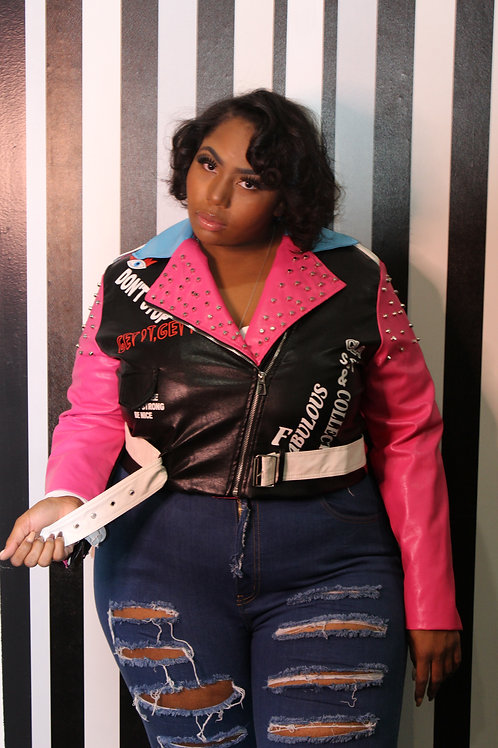 Pink Collection Vintage Leather Jacket