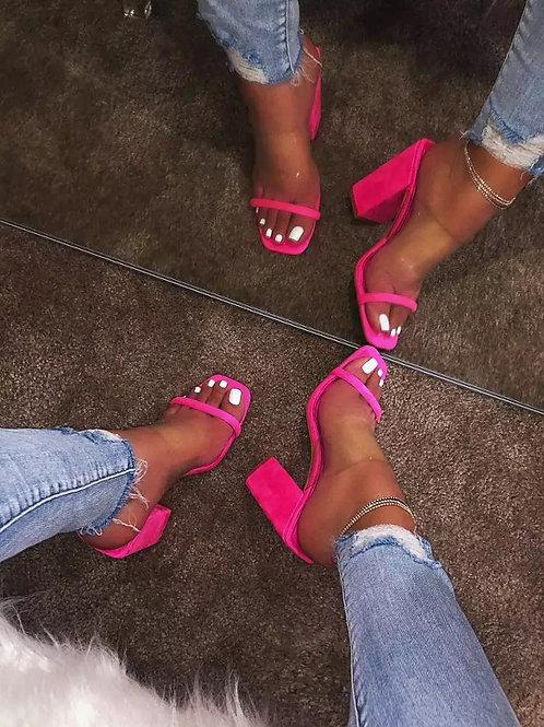 Neon Pink Strap Toe Chunck Heels