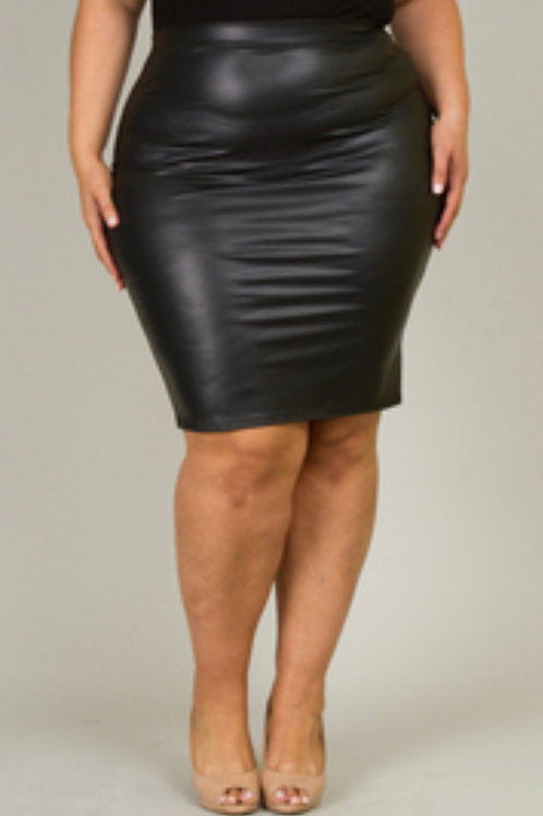 Curvy Leather Skirt