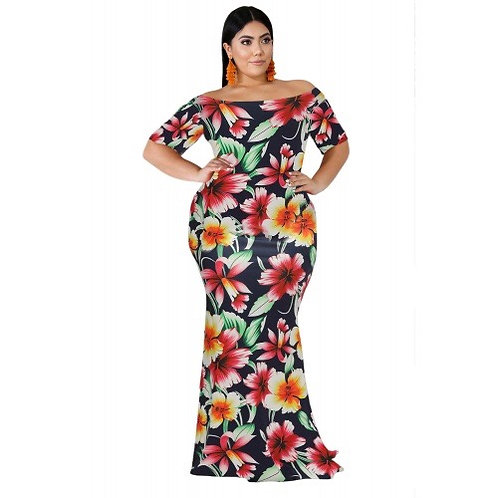 California Tropical Floral Mermaid Dress