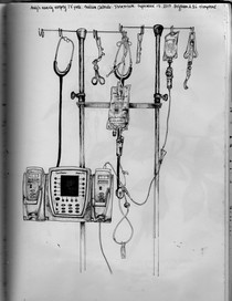 sketch book: nearly empty IV pole. Boston, MA. September 17, 2013