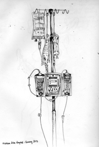 sketch book: Fletcher Allen Hospital IV pole. Burlington, VT. January 2013