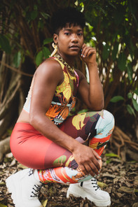 Stephanie wearing the leggings & crop top in Swamp Paradise print