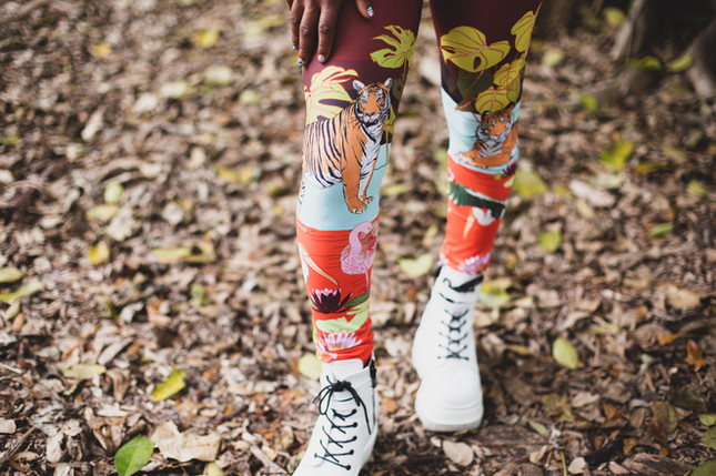Stephanie wearing the leggings in Swamp Paradise print